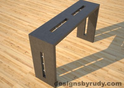3 Quad Split Charcoal Concrete Console Table angle view with stainless steel accents Designs by Rudy