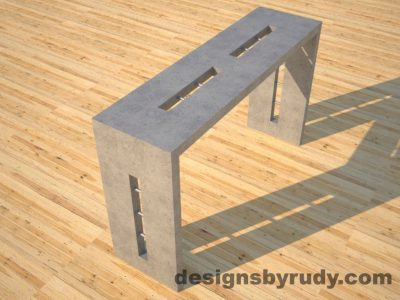 3 Quad Split Gray Concrete Console Table angle view with stainless steel accents Designs by Rudy