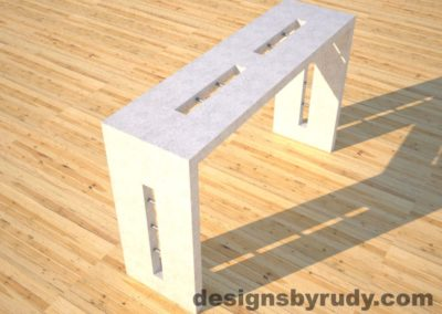 3 Quad Split White Concrete Console Table angle view with stainless steel accents Designs by Rudy