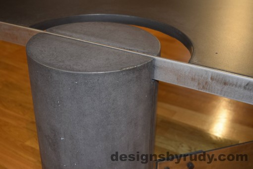 Charcoal Concrete Coffee Table, Polished Steel Frame, frame and leg connection side view, with flash Designs by Rudy