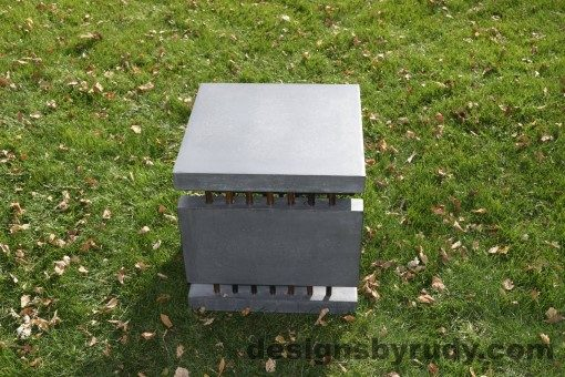 30 Gray Concrete Side Table DR0 exterior natural lighting fullside view, Designs by Rudy