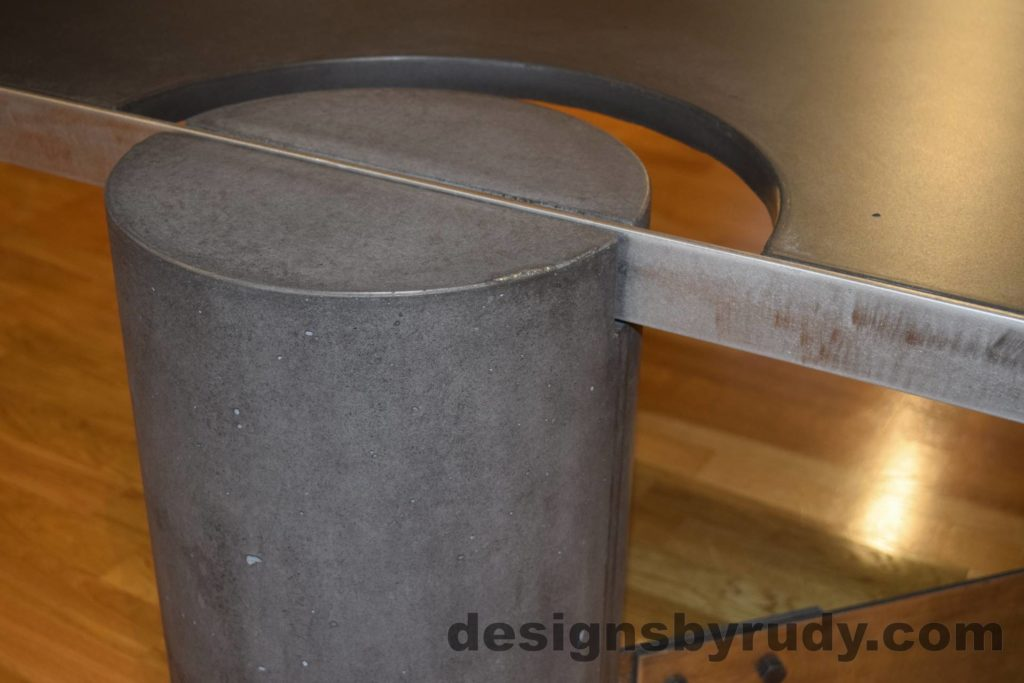 Black Concrete Coffee Table, Polished Steel Frame, frame and leg connection side view, with flash Designs by Rudy