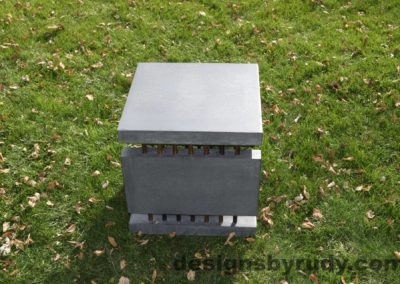 30L Gray Concrete Side Table DR0 exterior natural lighting fullside view, Designs by Rudy