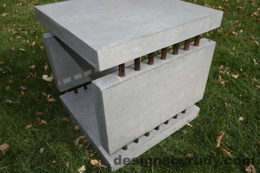 31 Gray Concrete Side Table DR0 exterior natural lighting full corner view closeup, Designs by Rudy