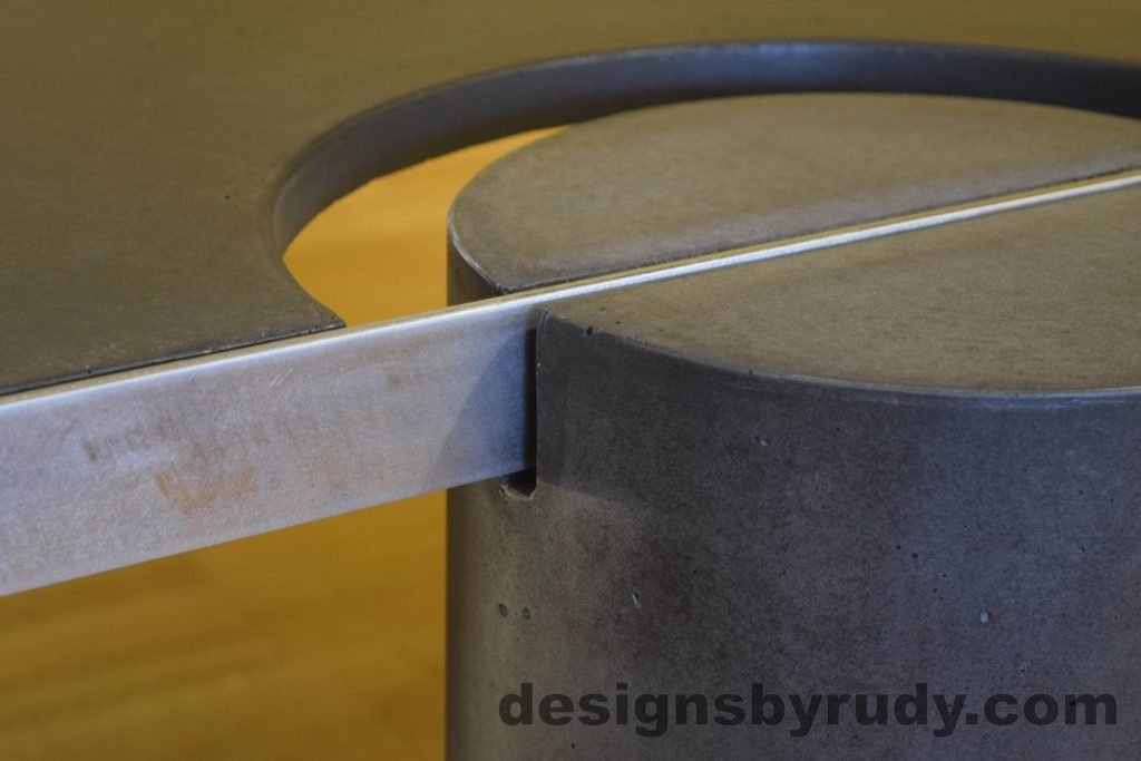 Black Concrete Coffee Table, Polished Steel Frame, frame and leg connection side view 2, no flash Designs by Rudy