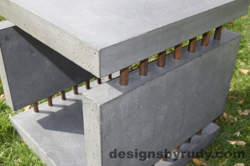 32 Gray Concrete Side Table DR0 exterior natural lighting side view, Designs by Rudy