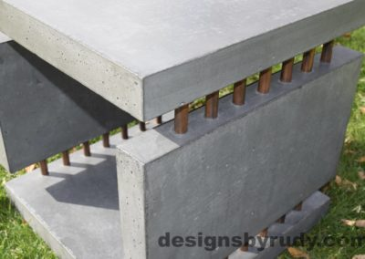 32L Gray Concrete Side Table DR0 exterior natural lighting side view, Designs by Rudy
