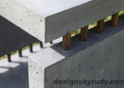 33 Gray Concrete Side Table DR0 exterior natural lighting front corner copper accent closeup view 3, Designs by Rudy