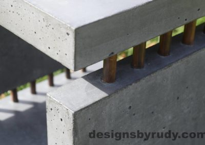 33L Gray Concrete Side Table DR0 exterior natural lighting front corner copper accent closeup view 3, Designs by Rudy