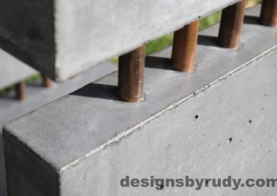 34 Gray Concrete Side Table DR0 exterior natural lighting front corner copper accent closeup view 2, Designs by Rudy