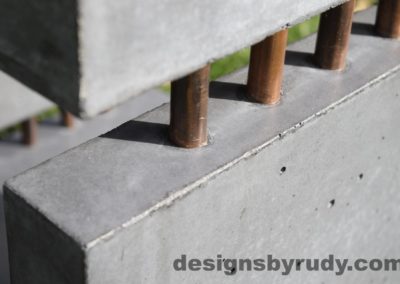 34L Gray Concrete Side Table DR0 exterior natural lighting front corner copper accent closeup view 2, Designs by Rudy