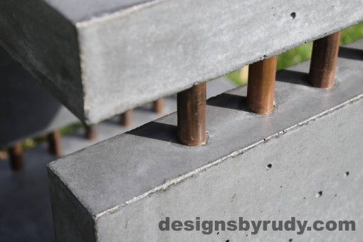 35 Gray Concrete Side Table DR0 exterior natural lighting front corner copper accent closeup view, Designs by Rudy