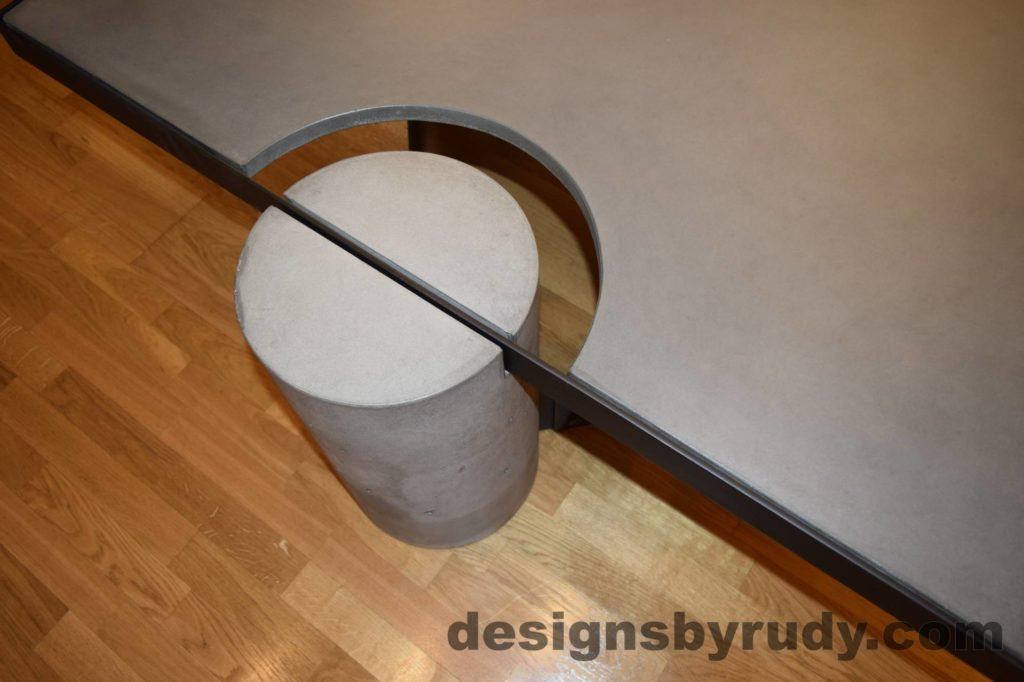 Gray Concrete Coffee Table, Black Steel Frame, top view of a concrete leg and top steel frame joint 1, Designs by Rudy