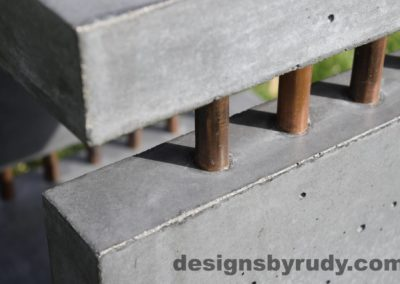 35L Gray Concrete Side Table DR0 exterior natural lighting front corner copper accent closeup view, Designs by Rudy