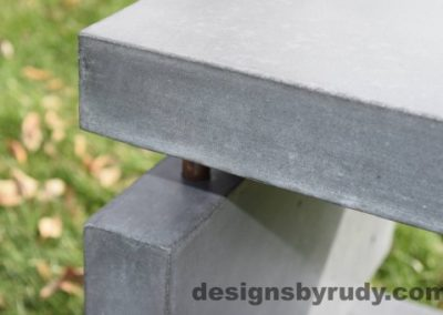 36 Gray Concrete Side Table DR0 exterior natural lighting front corner closeup view, Designs by Rudy