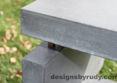 36L Gray Concrete Side Table DR0 exterior natural lighting front corner closeup view, Designs by Rudy