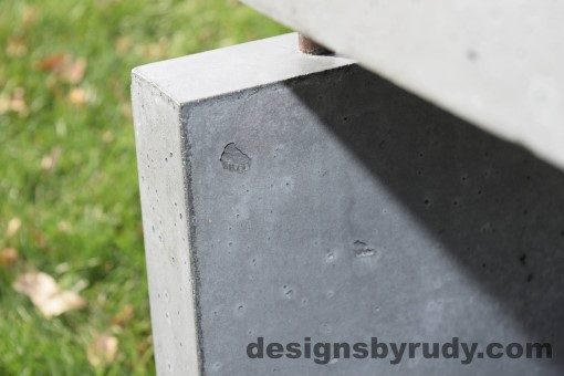 37 Gray Concrete Side Table DR0 exterior natural lighting front corner closeup view 2, Designs by Rudy