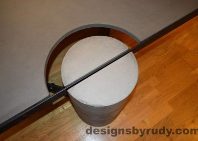 Gray Concrete Coffee Table, Black Steel Frame, top view of a concrete leg and top steel frame joint 2, Designs by Rudy