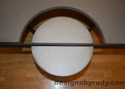 Gray Concrete Coffee Table, Black Steel Frame, top view of a concrete leg and top steel frame joint 3, Designs by Rudy