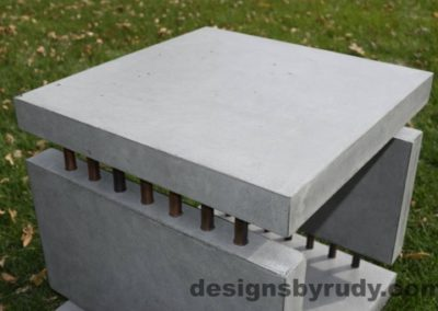 38 Gray Concrete Side Table DR0 exterior natural lighting front top view 2, Designs by Rudy