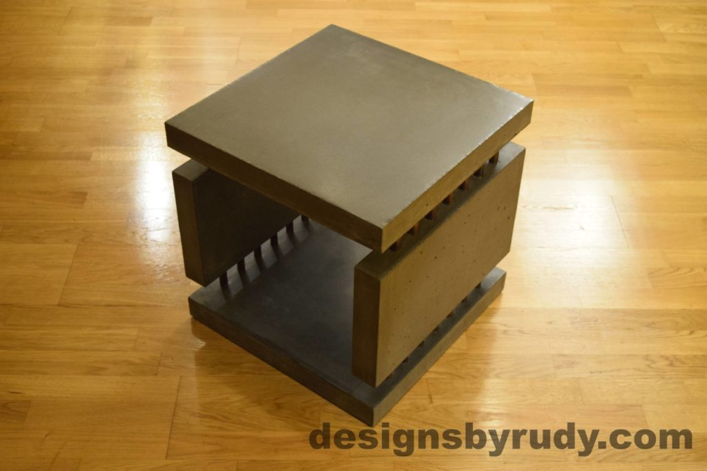 3L Charcoal Concrete Side Table DR0 corner view, no flash, Designs by Rudy