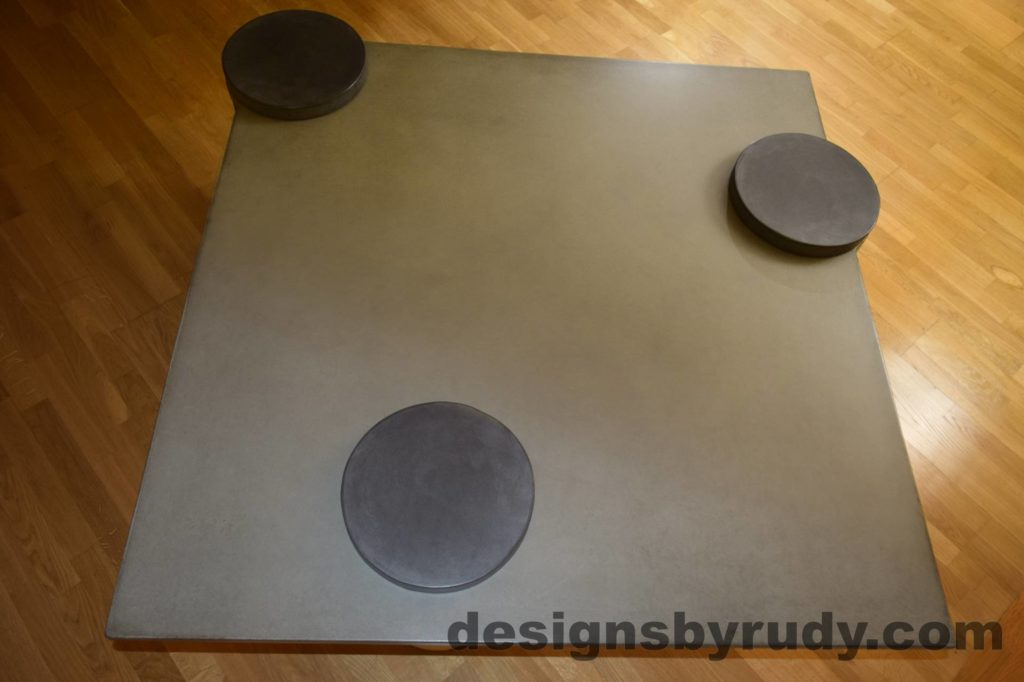 3L Gray Concrete Coffee Table Top with Charcoal Caps, Designs by Rudy