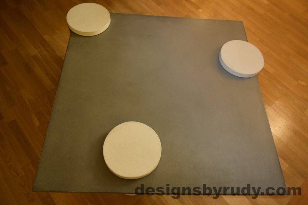 3L Gray Concrete Coffee Table Top with White Caps, Designs by Rudy DR18