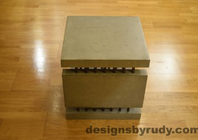 3L Gray Concrete Side Table DR0 full side view no flash, Designs by Rudy