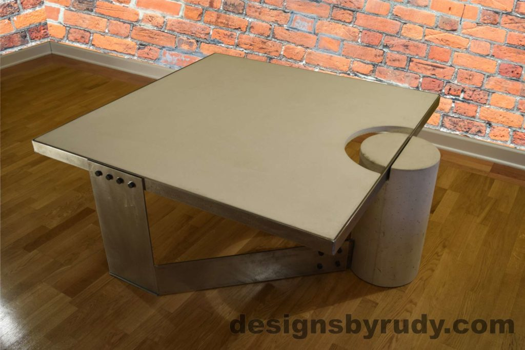 White Concrete Coffee Table, Polished Steel Frame, top angle corner and leg round view no flash Designs by Rudy