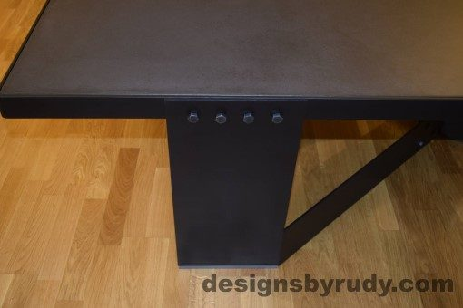 Charcoal Concrete Coffee Table, Black Steel Frame, steel leg and top frame joint full view, Designs by Rudy