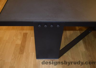 Black Concrete Coffee Table, Black Steel Frame, steel leg and top frame joint full view, Designs by Rudy
