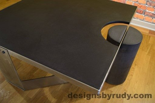 Charcoal Concrete Coffee Table, Polished Steel Frame, top angle closer view, no flash Designs by Rudy
