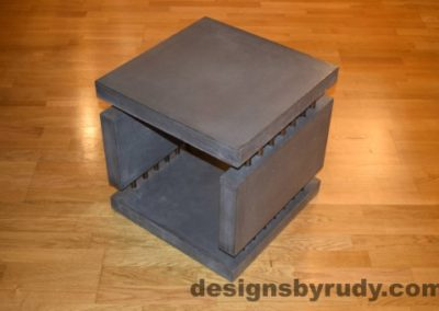 4 Charcoal Concrete Side Table DR0 corner view, with flash, Designs by Rudy