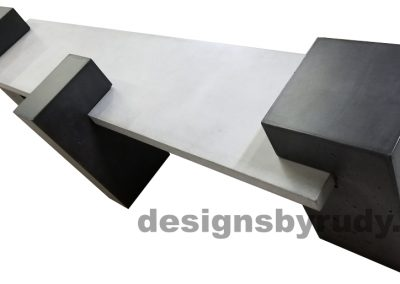 DR CB1 concrete bench on 3 pedestals by Designs by Rudy, top angle, gray slab, all charcoal pedestals