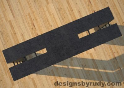 4 Double Split Charcoal Concrete Console Table top view with steel accents Designs by Rudy