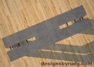 4 Double Split Gray Concrete Console Table top view with steel accents Designs by Rudy
