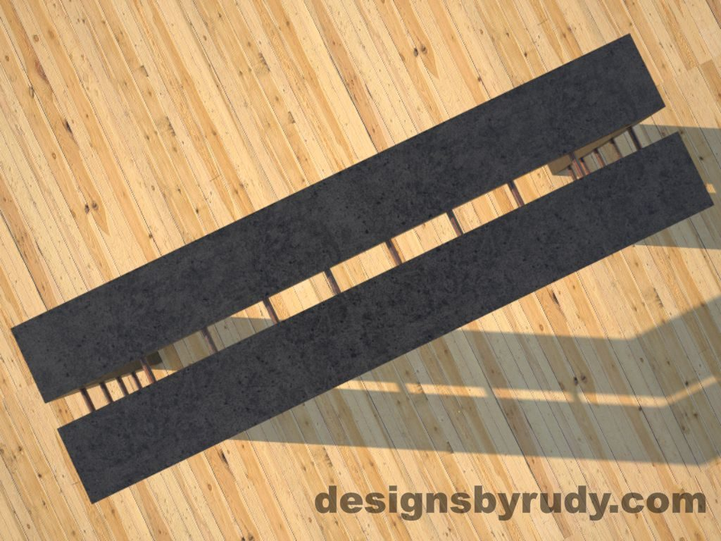 4 Full Split Charcoal Concrete Console Table top view with copper accents Designs by Rudy