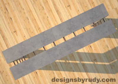 4 Full Split Gray Concrete Console Table top view with copper accents Designs by Rudy