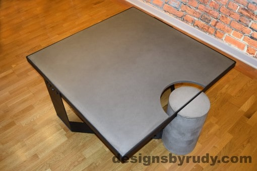 Gray Concrete Coffee Table, Black Steel Frame, top angle view 4, Designs by Rudy