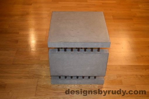 4 Gray Concrete Side Table DR0 full side view with flash, Designs by Rudy