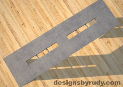 4 Quad Split Gray Concrete Console Table top view with stainless steel accents Designs by Rudy