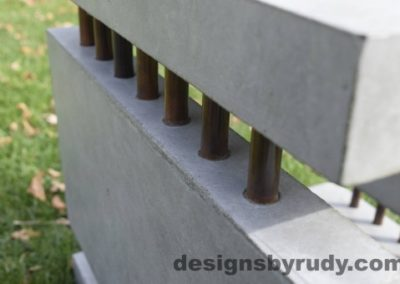 42 Gray Concrete Side Table DR0 exterior natural lighting front corner copper accent closeup view 4, Designs by Rudy