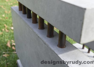 42L Gray Concrete Side Table DR0 exterior natural lighting front corner copper accent closeup view 4, Designs by Rudy