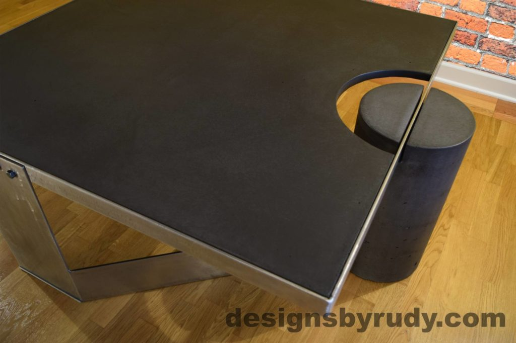 Black Concrete Coffee Table, Polished Steel Frame, top angle closer view, no flash Designs by Rudy