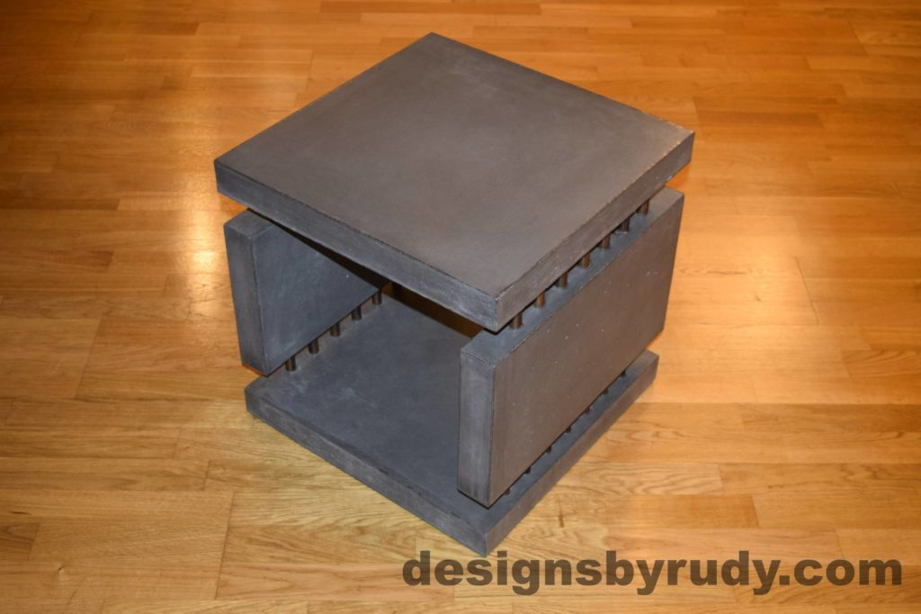 4L Charcoal Concrete Side Table DR0 corner view, with flash, Designs by Rudy