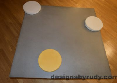 4L Gray Concrete Coffee Table Top with Tow White and one Yellow Cap, Designs by Rudy DR18