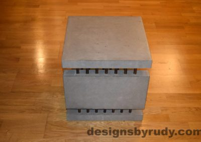 4L Gray Concrete Side Table DR0 full side view with flash, Designs by Rudy