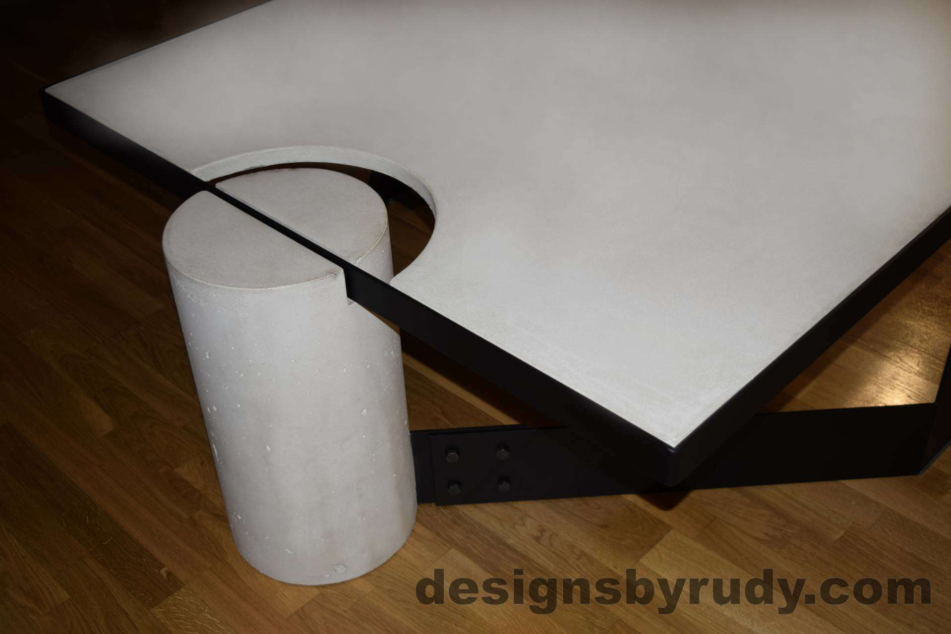 White Concrete Coffee Table Black Powder Coated Steel Frame