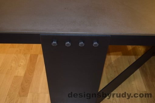 Charcoal Concrete Coffee Table, Black Steel Frame, steel leg and top frame joint closeup, Designs by Rudy