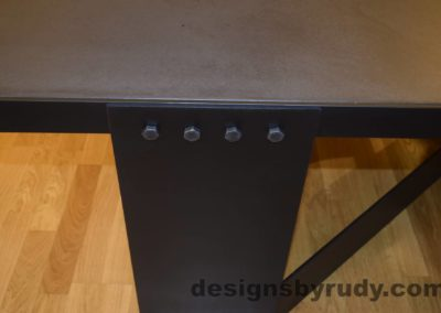 Black Concrete Coffee Table, Black Steel Frame, steel leg and top frame joint closeup, Designs by Rudy
